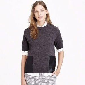 J. Crew Merino Wool Leather Pocket Tee Sweater